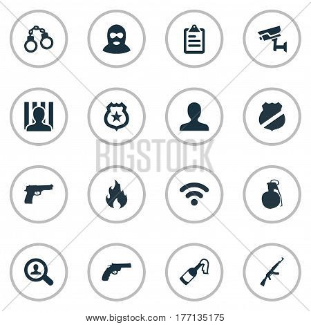 Vector Illustration Set Of Simple Offense Icons. Elements Pistol, Bottle, Internet And Other Synonyms Western, Man And Lock.