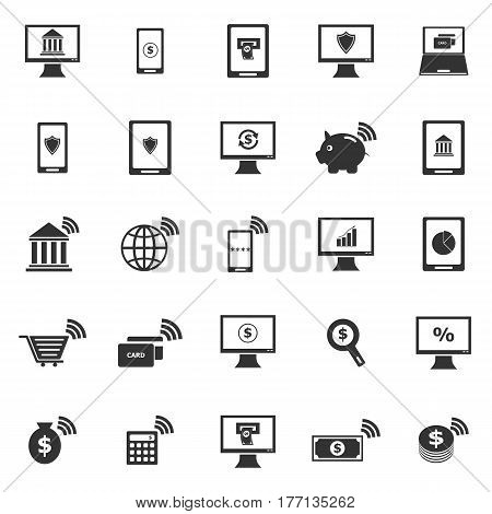 Online banking icons on white background, stock vector