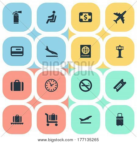 Vector Illustration Set Of Simple Plane Icons. Elements Protection Tool, Coupon, Travel Bag And Other Synonyms Flight, Currency And Plastic.