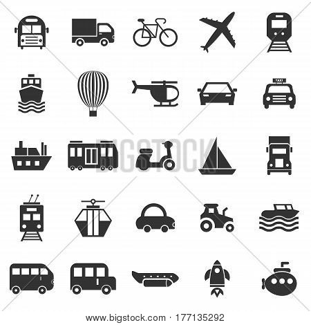 Transportation icons on white background, stock vector