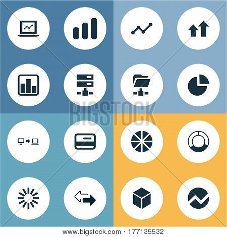 Vector Illustration Set Of Simple Data Icons. Elements Cycle Chart, Progress, Plastic Money And Other Synonyms Graphic, Connection And Progress.