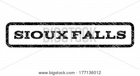 Sioux Falls watermark stamp. Text tag inside rounded rectangle with grunge design style. Rubber seal stamp with unclean texture. Vector black ink imprint on a white background.