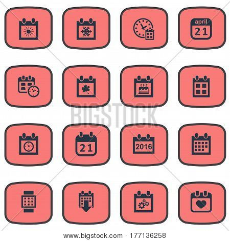 Vector Illustration Set Of Simple Time Icons. Elements Agenda, Deadline, Planner And Other Synonyms Day, Almanac And Planner.