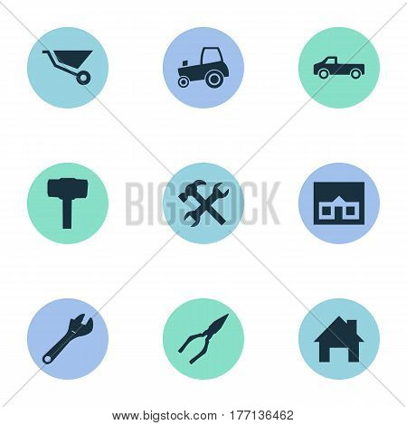 Vector Illustration Set Of Simple Build Icons. Elements Cart, Transportation, Pliers And Other Synonyms Adjustable, Clipping And House.