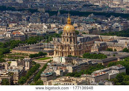 View from above of Les Invalides and buildings in Paris, France.