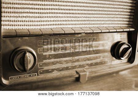 Retro Radio On Wooden Table Old Style
