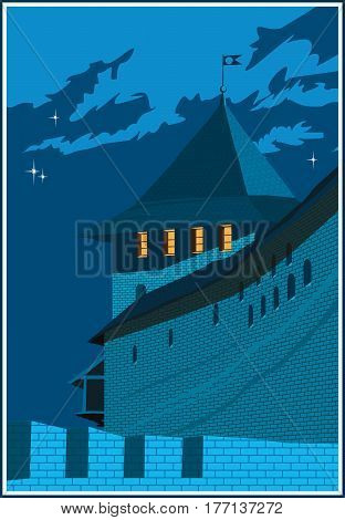 Stylized vector composition on the theme of old castles and fortresses. The castle tower at night