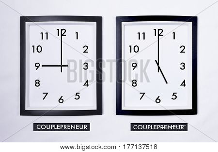 Time Zone of Setting Boundaries and Good Time Management Between Job and Family. Concept of couplepreneur.