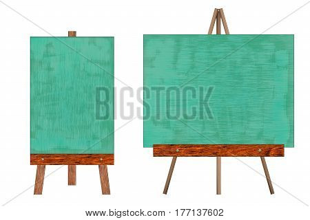Chalkboard collection in wooden frame isolated on white background (Clipping path included for design work)