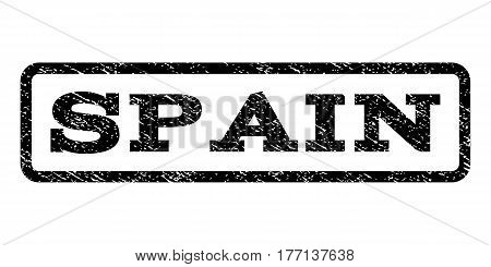 Spain watermark stamp. Text caption inside rounded rectangle with grunge design style. Rubber seal stamp with scratched texture. Vector black ink imprint on a white background.