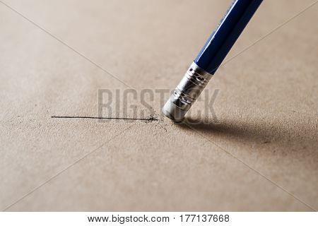 Eraser and error pencil with line concept Mistake erase concept