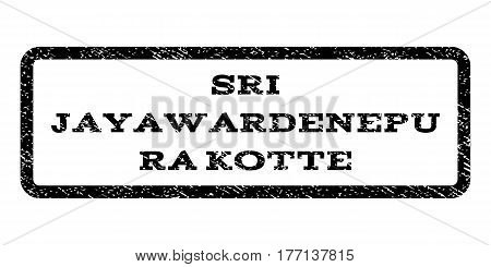 Sri Jayawardenepura Kotte watermark stamp. Text tag inside rounded rectangle frame with grunge design style. Rubber seal stamp with scratched texture. Vector black ink imprint on a white background.