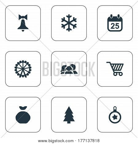 Vector Illustration Set Of Simple New Year Icons. Elements Decoration, Funfair, Calendar And Other Synonyms Snow, Present And Decoration.