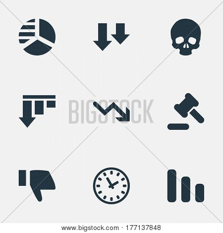 Vector Illustration Set Of Simple Crisis Icons. Elements Bar Graph, Head Bone, Line Chart And Other Synonyms Decreasing, Hammer And Watch.