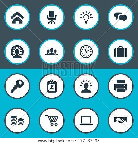 Vector Illustration Set Of Simple Commerce Icons. Elements Trading Purse, House Location, Identity Card And Other Synonyms Laptop, Trading And Bulb.