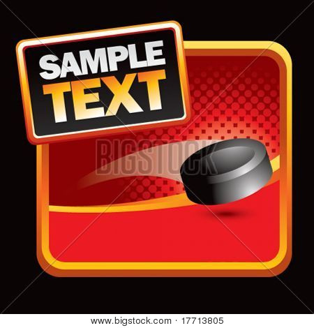 hockey puck red halftone stylized template