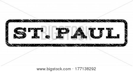 St.Paul watermark stamp. Text caption inside rounded rectangle frame with grunge design style. Rubber seal stamp with dust texture. Vector black ink imprint on a white background.