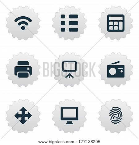 Vector Illustration Set Of Simple Device Icons. Elements Projector, Wireless Connection, Move And Other Synonyms Wireless, Radio And Display.