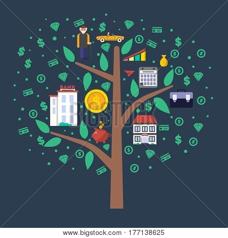 Investment in old age infographics with money tree vector illustration. Presentation of retirement money plan, financial growing, strategic management of pension finance, life to retire concept