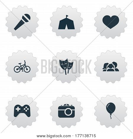 Vector Illustration Set Of Simple Birthday Icons. Elements Circus, Soul, Speech And Other Synonyms Theater, Tent And Feelings.