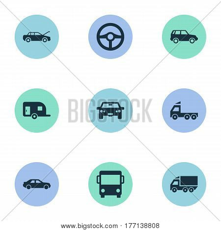 Vector Illustration Set Of Simple Automobile Icons. Elements Tour Bus, Repairing Service, Traffic And Other Synonyms Van, Trailer And Service.