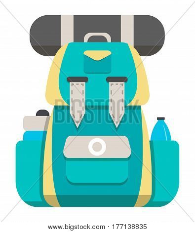 Mountain hiking backpack icon vector illustration isolated on white background. Yellow and blue tourist back pack in flat design. Camp and hike bag and knapsack.