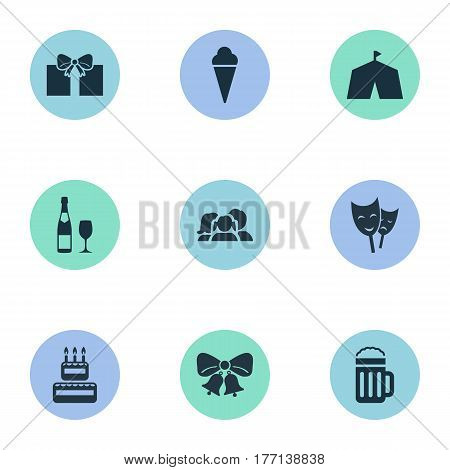Vector Illustration Set Of Simple Birthday Icons. Elements Domestic, Confectionery, Sweet Dessert And Other Synonyms Alcohol, Gift And Mask.