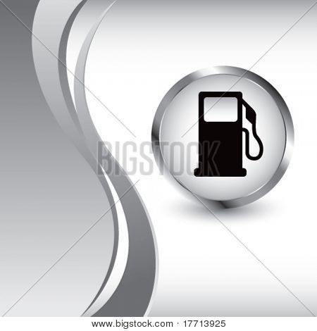 gas pump icon silver wave background