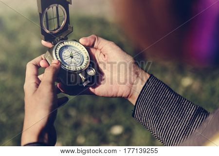 Hand Hold Compass Guide Direction Navigation