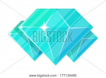 Jewelry diamond icon vector illustration isolated on white background. Blue precious stone, colorful gemstones, jewel crystal, cut gem in flat design.