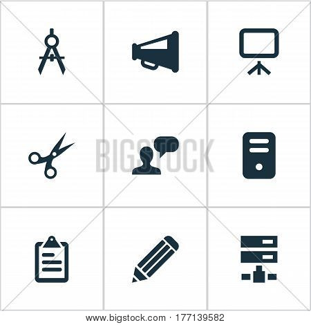 Vector Illustration Set Of Simple Icons Icons. Elements Bullhorn, System Unit, Assessment And Other Synonyms Opinion, Unit And Schema.