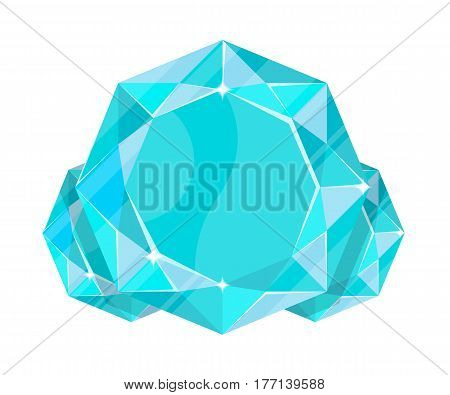 Jewelry aquamarine icon vector illustration isolated on white background. Blue precious stone, colorful gemstones, jewel crystal, cut gem in flat design.