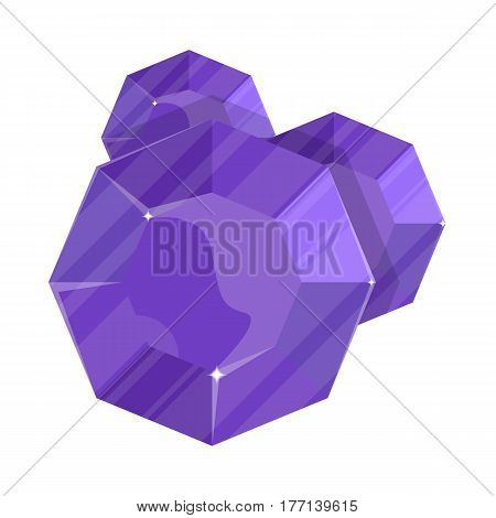 Jewelry round amethyst icon vector illustration isolated on white background. Purple precious stone, colorful gemstones, jewel crystal, cut gem in flat design.