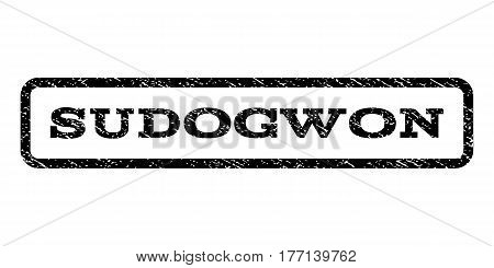 Sudogwon watermark stamp. Text tag inside rounded rectangle with grunge design style. Rubber seal stamp with dust texture. Vector black ink imprint on a white background.