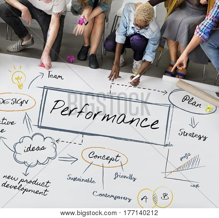Group of people meeting with performance graphic on whiteboard