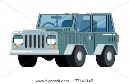 Offroad SUV car icon isolated on white background vector illustration. Modern comfortable jeep, people transportation, auto vehicle in flat style.