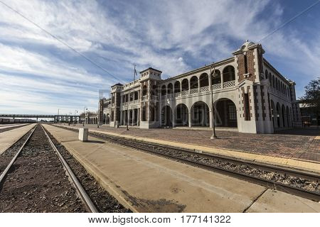 Barstow, California, USA - March 11, 2017:  Historic Barstow train station in the Southern California Mojave Desert.
