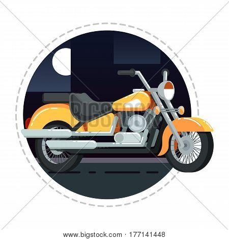 Retro chopper icon isolated on white background vector illustration. Motorcycle or moto bike in flat design. People transportation, city vehicle.