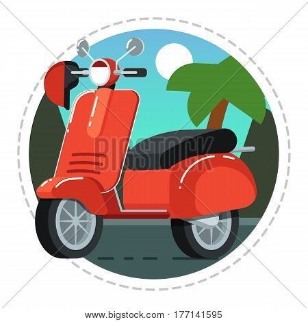 Vintage scooter icon isolated on white background vector illustration. Motorcycle, moped or moto bike in flat design. People transportation, city vehicle.