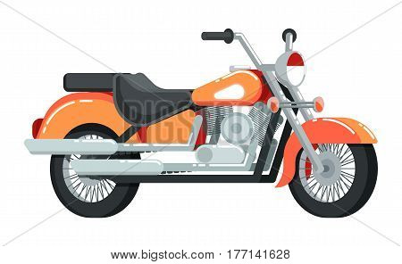 Vintage motorcycle icon isolated on white background vector illustration. Chopper or moto bike in flat design. People transportation, city vehicle.