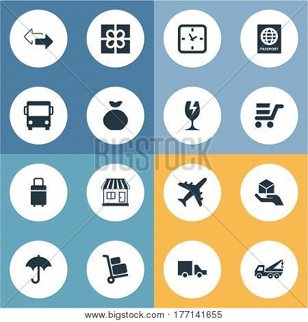 Vector Illustration Set Of Simple Distribution Icons. Elements Opposite Directions, Holdall , Hand Synonyms Van, Aircraft And Passport.