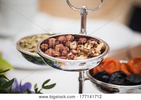 Dried fruits on the table. Mix of healthy snaks