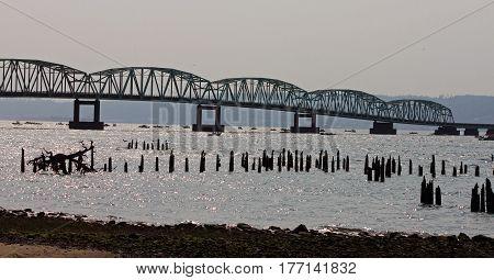 The Astoria Megler Bridge Crossing the Columbia River at Astoria Oregon