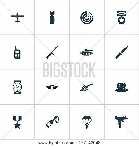 Vector Illustration Set Of Simple War Icons. Elements Hero Reward, Radio Locator, Molotov And Other Synonyms Artillery, Scanner And Machine.