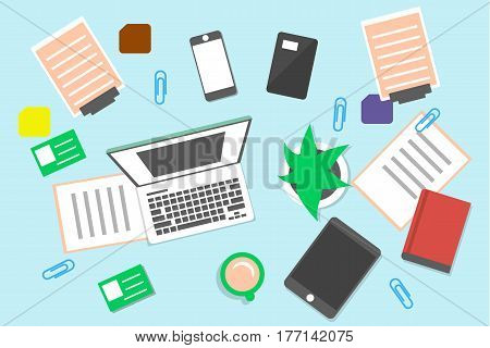 Top view office workplace background vector illustration. Creative workspace with tablet, laptop, smartphone, office objects, documents and cup of coffee. Business workspace concept in flat design