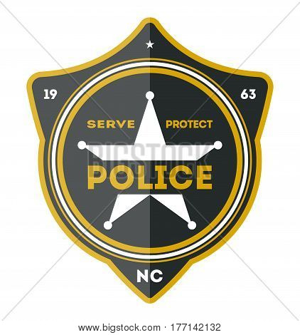 Police department badge isolated on white background vector illustration. Federal security emblem, state detective label, cop sign in flat design.
