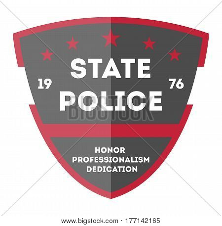 State police badge isolated on white background vector illustration. Federal security emblem, state detective label, cop sign in flat design.