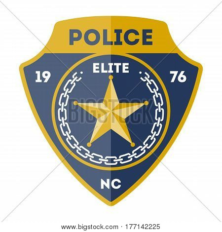 Elite policeman sign with golden star icon isolated on white background vector illustration. Federal security emblem, state detective label, cop sign in flat design.