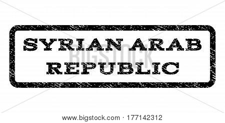 Syrian Arab Republic watermark stamp. Text caption inside rounded rectangle frame with grunge design style. Rubber seal stamp with dust texture. Vector black ink imprint on a white background.