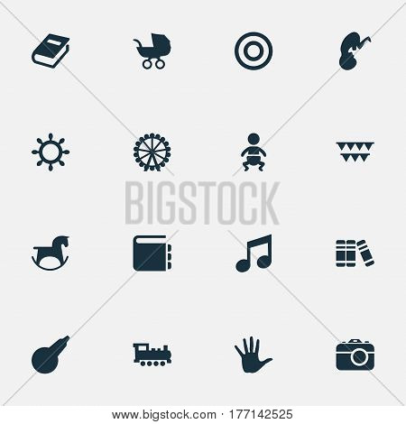 Vector Illustration Set Of Simple Baby Icons. Elements Fetus, Stroller, Melody And Other Synonyms Enema, Encyclopedia And Rudder.
